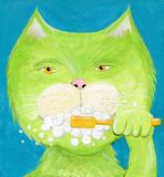 Cartoon Cat Brushing Teeth Hand Painted Illustration. Hand Painted Green Cat brushing teeth, cartoon image for illustration, etc Royalty Free Illustration