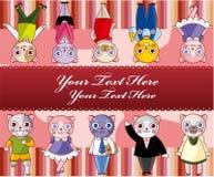 Cartoon cat card Stock Photography
