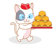 Cartoon cat carrying a hamburger Stock Photo
