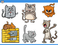 Cartoon cat characters collection. Cartoon Illustration of Funny Cats or Kittens Animal Characters Collection Royalty Free Stock Photography