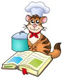 Cartoon cat chef with recipe book Royalty Free Stock Images
