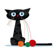 Cartoon cat and clew of yarn. Cartoon funny black cat with a clew of yarn instead of whiskers Royalty Free Stock Image