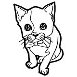 Cartoon Cat Coloring Page Stock Photo
