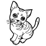 Cartoon Cat Coloring Page Royalty Free Stock Photo