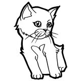 Cartoon Cat Coloring Page Royalty Free Stock Photography