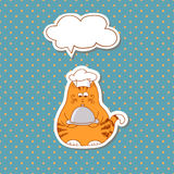 Cartoon cat cook with bubble speech on dots background. Royalty Free Stock Image