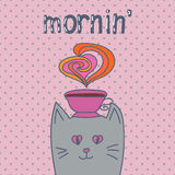 Cartoon cat with cup of coffee on dots background. Royalty Free Stock Photo