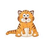 Cartoon cat. Cute cartoon animal. Cartoon cat character. Cartoon tiger. Stuffed toy Royalty Free Stock Photo
