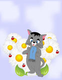 Cartoon cat with daisies Royalty Free Stock Photos