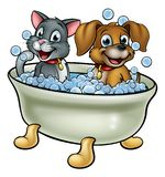 Cartoon Cat and Dog in Bath. Cartoon dog and cat washing in the bath with bubbles vector illustration