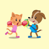 Cartoon cat and dog doing boxing training. For design Royalty Free Stock Images