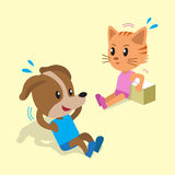 Cartoon a cat and a dog doing exercise Royalty Free Stock Photography