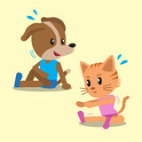 Cartoon cat and dog doing exercise Stock Photography