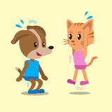 Cartoon cat and dog doing jump squats Royalty Free Stock Images