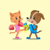 Cartoon cat and dog doing kickboxing training Royalty Free Stock Photo