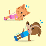 Cartoon a cat and a dog doing plank and side plank Royalty Free Stock Photos