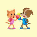 Cartoon cat and dog doing uppercut punch training. For design Stock Photos