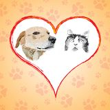 Cartoon cat and dog with heart. Royalty Free Stock Photos