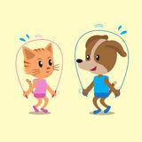Cartoon a cat and a dog jumping ropes together Stock Photo