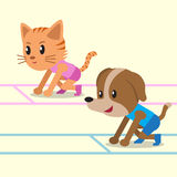 Cartoon a cat and a dog ready to run Stock Photos