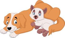 Cartoon cat and dog relaxing Stock Photos