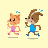 Cartoon cat and dog running Stock Photo