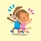 Cartoon cat and dog running Royalty Free Stock Image