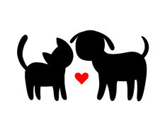 Cartoon cat and dog silhouettes. Friendship of cat and dog with red heart on background royalty free illustration