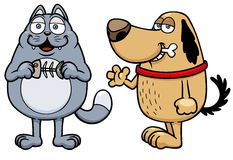 Cartoon cat and dog Stock Images