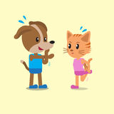 Cartoon a cat and a dog warm up Stock Image