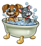 Cartoon Cat and Dog Washing in Bath royalty free illustration