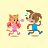 Cartoon cat doing boxing with dog Royalty Free Stock Images