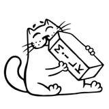 Cartoon cat is drinking milk. Isolated vector illustration. Stock Photo