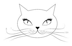 Cartoon cat face. Abstract cartoon cat face in black and white Stock Image