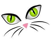 Cartoon Cat Face Eyes Clip Art stock illustration