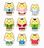 Cartoon cat family icon set. Drawing Royalty Free Stock Photography