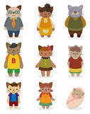 Cartoon cat family icon set Stock Photo