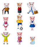 Cartoon cat family icon set Royalty Free Stock Images