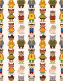 Cartoon cat family seamless pattern Stock Image