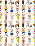 Cartoon cat family seamless pattern Royalty Free Stock Photo