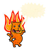 Cartoon cat on fire Stock Photography