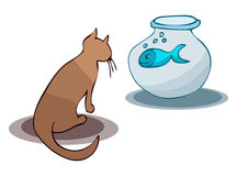 Cartoon Cat and Fish in a Bowl. Cartoon Cat watching the Fish in a Bowl, Vector Illustration  on White Background, outlines available on Separated Layers Stock Image