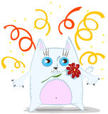 Cartoon cat with flower Royalty Free Stock Photos