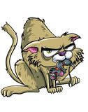 Cartoon cat has caught a mouse. Isolated on white Royalty Free Stock Images