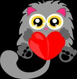 Cartoon cat with heart 1 Stock Image
