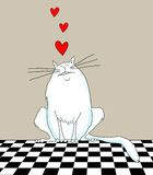 Cartoon Cat With Hearts Royalty Free Stock Photos