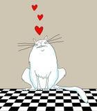 Cartoon Cat With Hearts Royalty Free Stock Photos