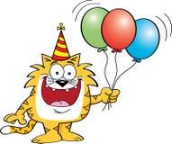 Cartoon cat holding balloons Royalty Free Stock Image