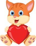 Cartoon cat holding red hart Royalty Free Stock Photo