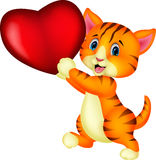 Cartoon cat holding red heart Royalty Free Stock Image